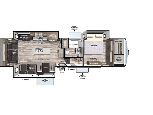 Cardinal Luxury Fifth Wheel Model 335RLX by Forest River Floorplan