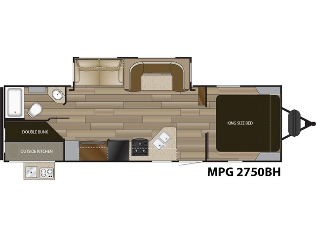 MPG Travel Trailer Model 2750BH by Cruiser RV Floorplan