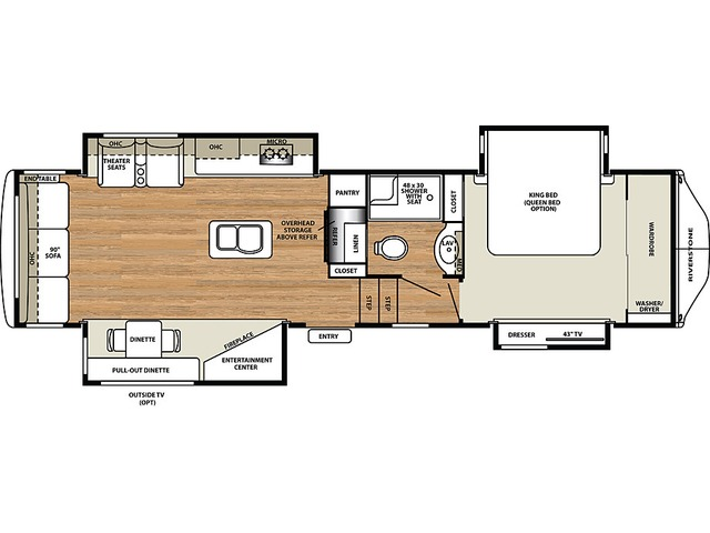 Riverstone Legacy Fifth Wheel Model 34SLE by Forest River Floorplan