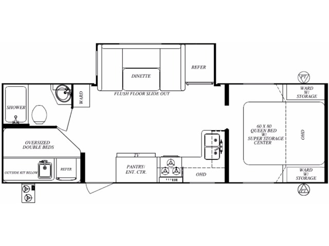 Surveyor LE Travel Trailer Model 248BHLE by Forest River Floorplan
