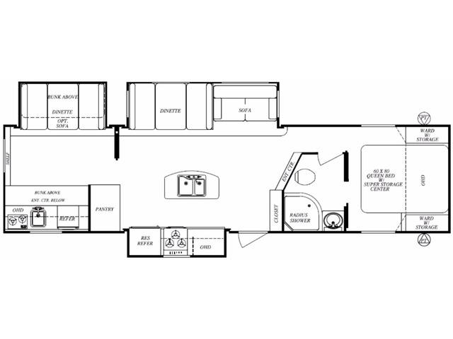 Surveyor LE Travel Trailer Model 323BHLE by Forest River Floorplan