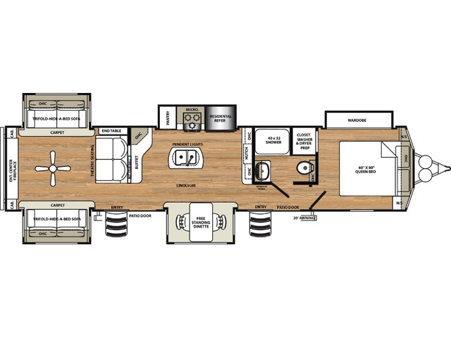 Sierra Park Trailer Model 403RD by Forest River Floorplan