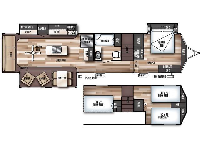 Salem Grand Villa Park Trailer Model 42DLTS by Forest River Floorplan