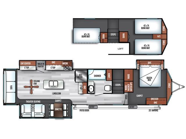 Salem Grand Villa Park Trailer Model 42DLTS by Forest River Floorplan
