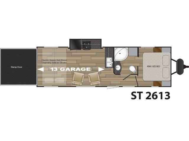 Stryker Toy Hauler (Travel Trailer) Model ST-2613 by Cruiser RV Floorplan