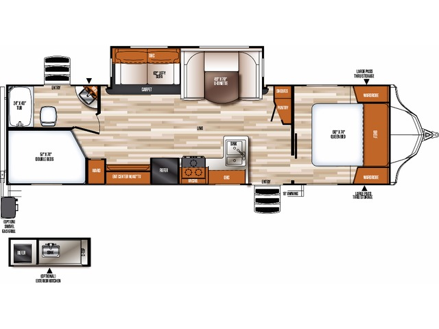 Vibe Travel Trailer Model 284BHS by Forest River Floorplan