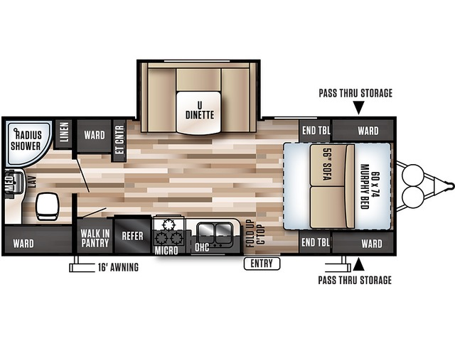 Cruise Lite Travel Trailer Model 233RB by Forest River Floorplan