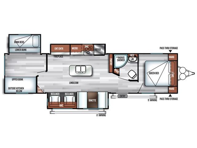 Salem Travel Trailer Model 32BHI by Forest River Floorplan