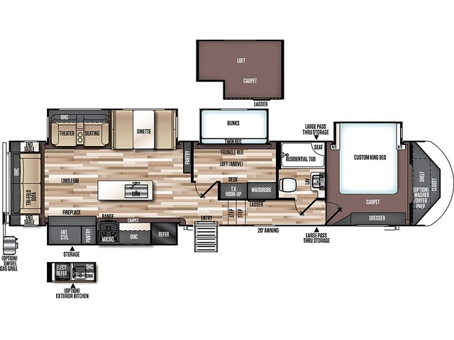 Hemisphere Fifth Wheel Model 370BL by Forest River Floorplan