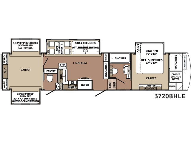 Cardinal Limited Fifth Wheel Model 3720BH by Forest River Floorplan