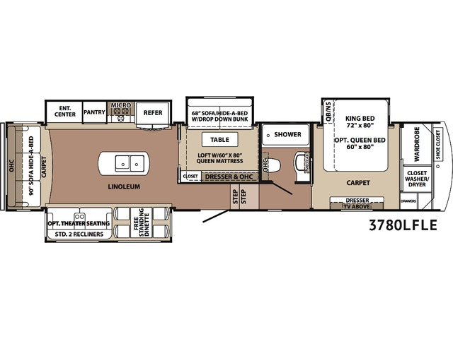 Cardinal Limited Fifth Wheel Model 3780LF by Forest River Floorplan