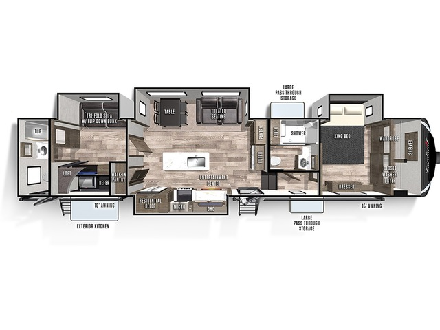 Cardinal Limited Fifth Wheel Model 383BHLE by Forest River Floorplan