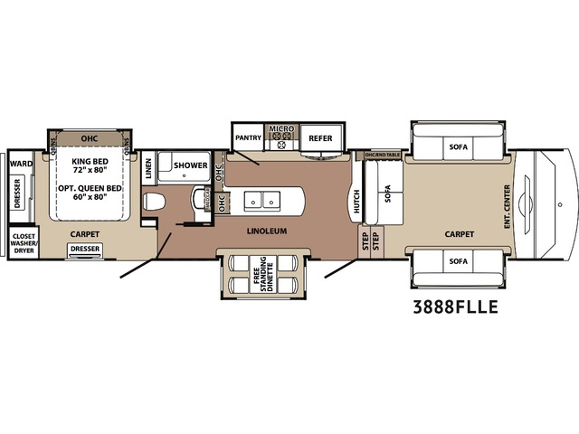 Cardinal Limited Fifth Wheel Model 3888FL by Forest River Floorplan