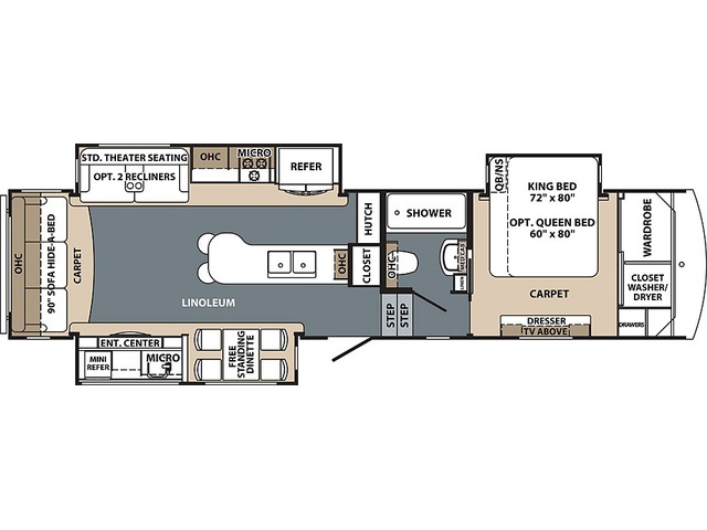Cardinal Explorer Fifth Wheel Model 322DS by Forest River Floorplan