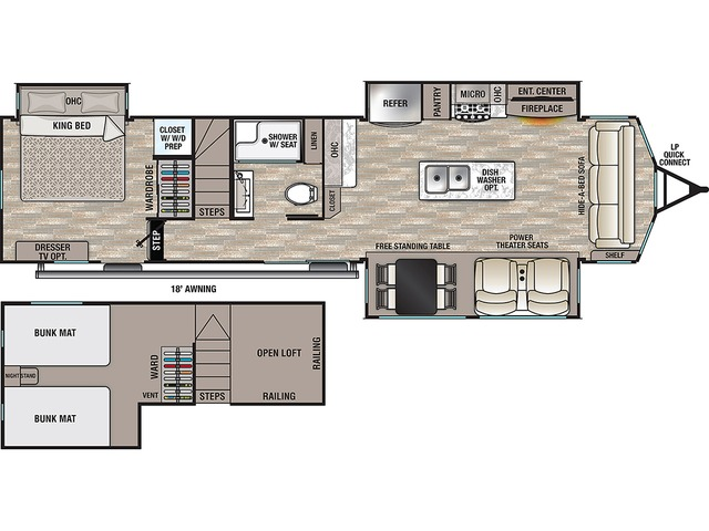 Cottage Park Trailer Model 40CDL by Forest River Floorplan