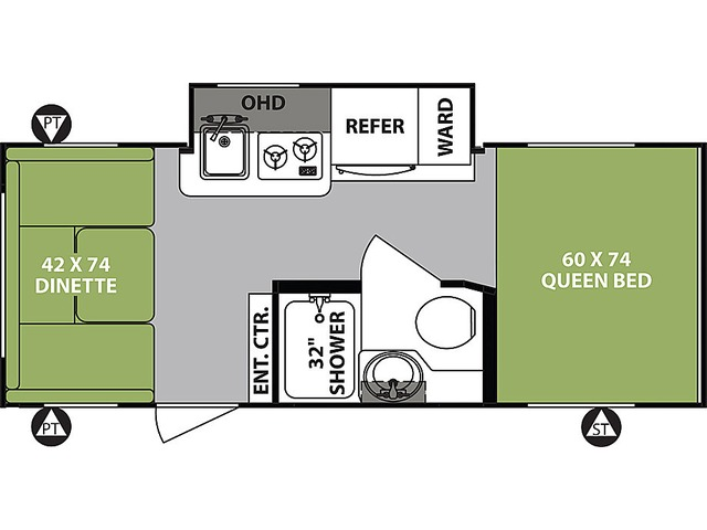 R-Pod Travel Trailer Model 190 by Forest River Floorplan