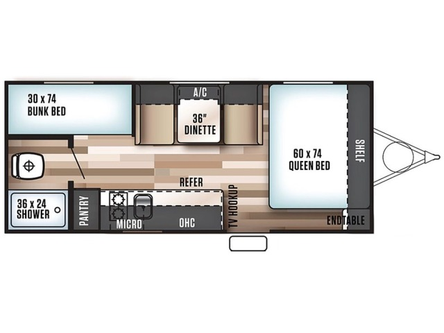 Cruise Lite FSX Travel Trailer Model 187RB by Forest River Floorplan