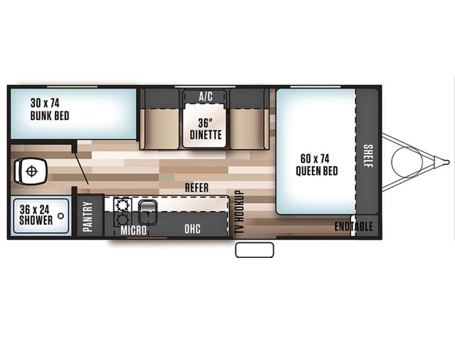 Cruise Lite FSX Travel Trailer Model 197BH by Forest River Floorplan