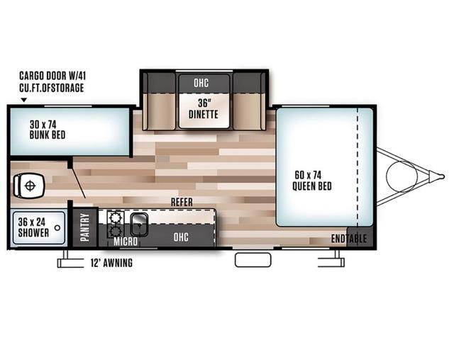 Cruise Lite FSX Travel Trailer Model 207BH by Forest River Floorplan