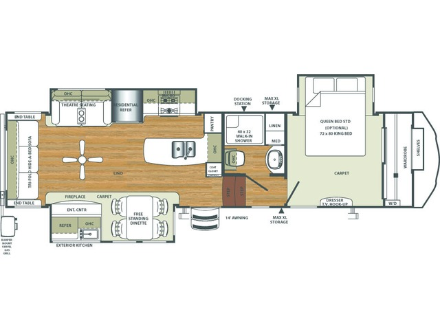 Sierra Fifth Wheel Model 345RLOK by Forest River Floorplan