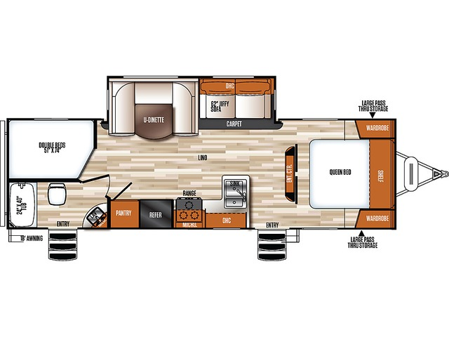 Vibe Extreme Lite Travel Trailer Model 261BHS by Forest River Floorplan