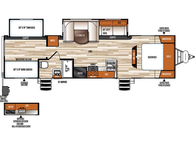 Vibe Extreme Lite Travel Trailer Model 306BHS by Forest River Floorplan