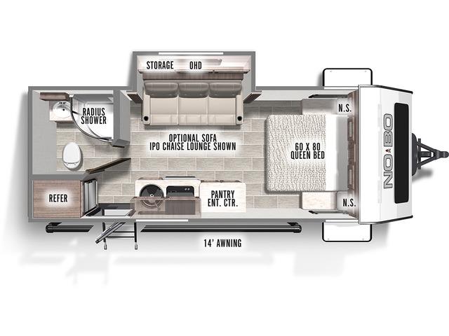 No Boundaries (NOBO) Travel Trailer Model NB19.5 by Forest River Floorplan