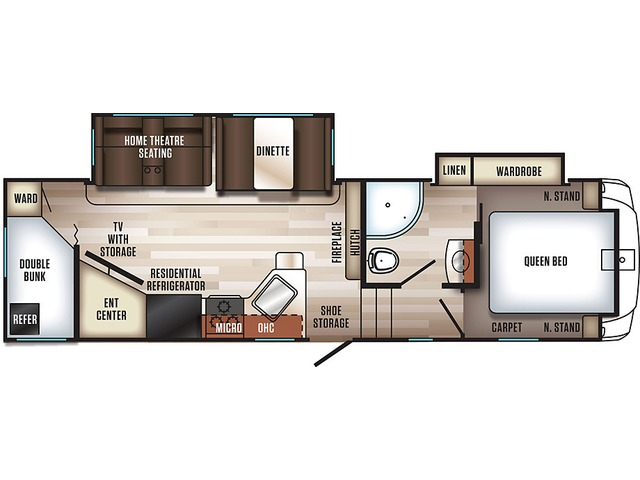 Sabre Fifth Wheel Model 27BHD by Forest River Floorplan