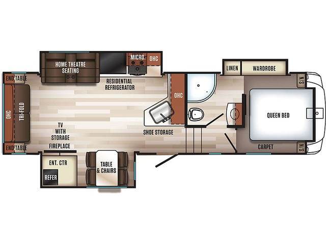 Sabre Fifth Wheel Model 27RLT by Forest River Floorplan