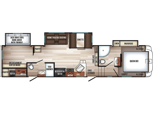 Sabre Fifth Wheel Model 31BHT by Forest River Floorplan