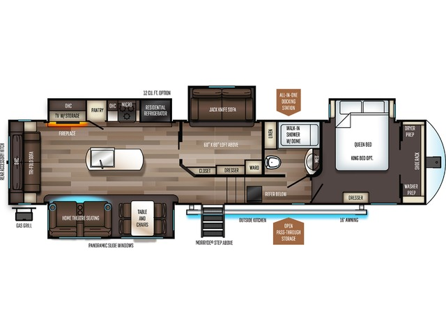 Sabre Fifth Wheel Model 36BHQ by Forest River Floorplan