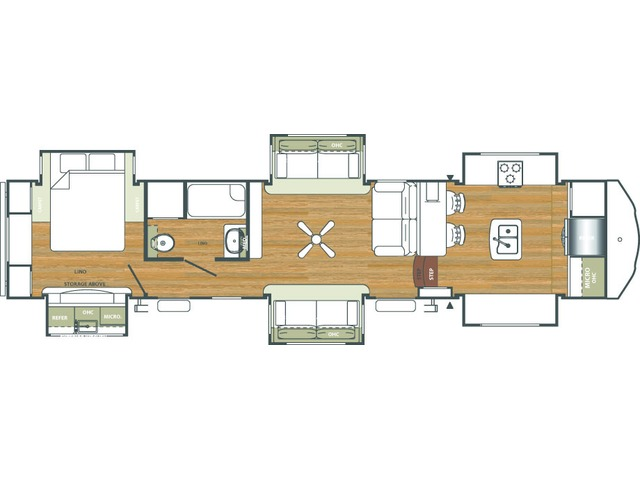 Sierra Fifth Wheel Model 38FKOK by Forest River Floorplan