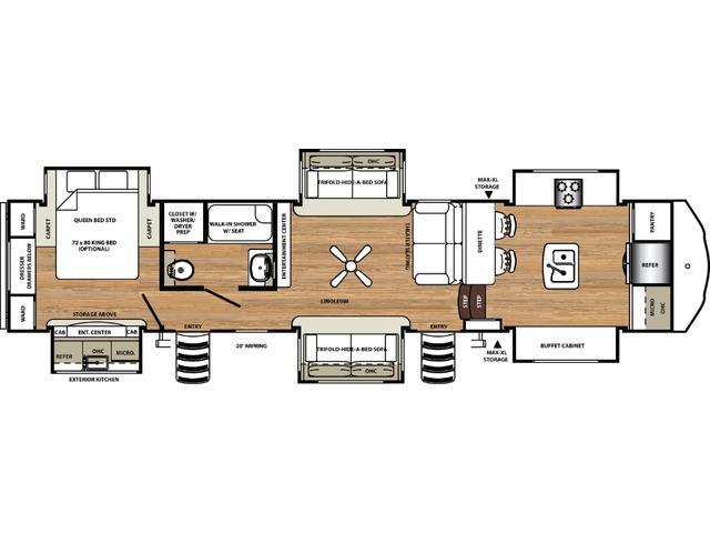 Sierra Fifth Wheel Model 38FKOK by Forest River Floorplan