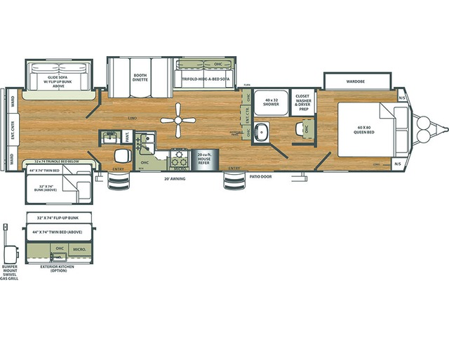 Sierra Park Trailer Model 404QBWD by Forest River Floorplan