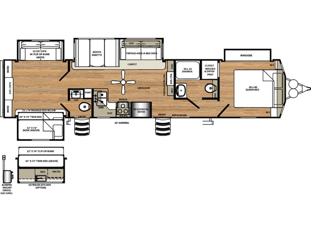 Sierra Park Trailer Model 404QBWD by Forest River Floorplan