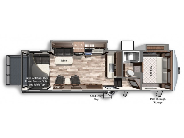 Triton Toy Hauler (Fifth Wheel) Model 3351 by Dutchmen Floorplan