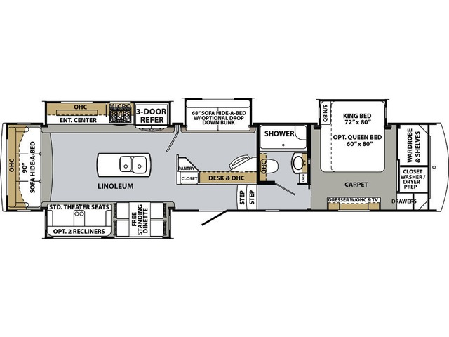 Cardinal Luxury Fifth Wheel Model 3525SOX by Forest River Floorplan