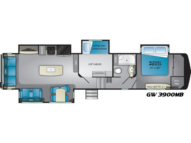 Gateway Fifth Wheel Model 3900MB by Heartland Floorplan