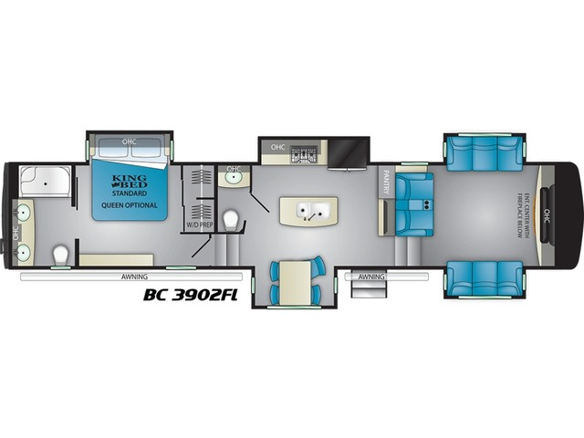 Big Country Fifth Wheel Model 3902FL by Heartland Floorplan