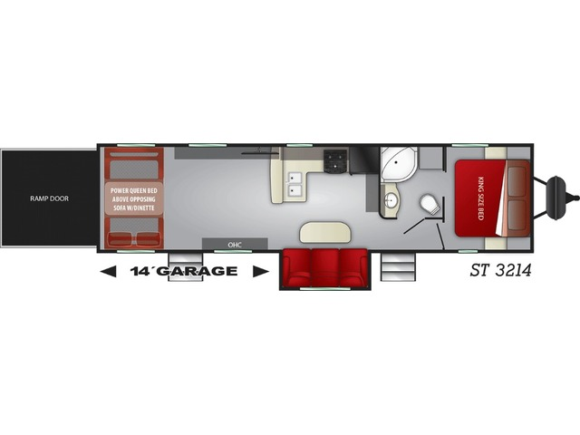 Stryker Toy Hauler (Travel Trailer) Model ST-3214 by Cruiser RV Floorplan
