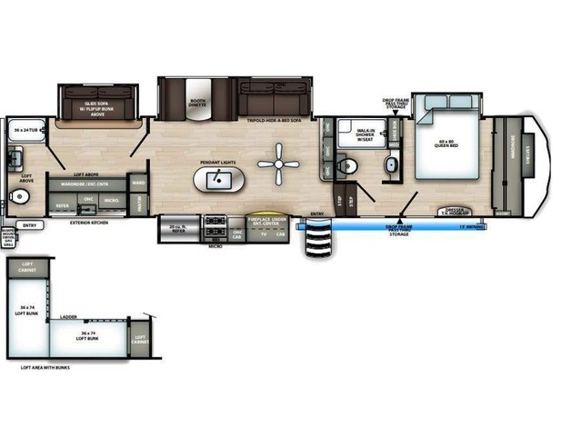 Sierra Fifth Wheel Model 383RBLOK by Forest River Floorplan