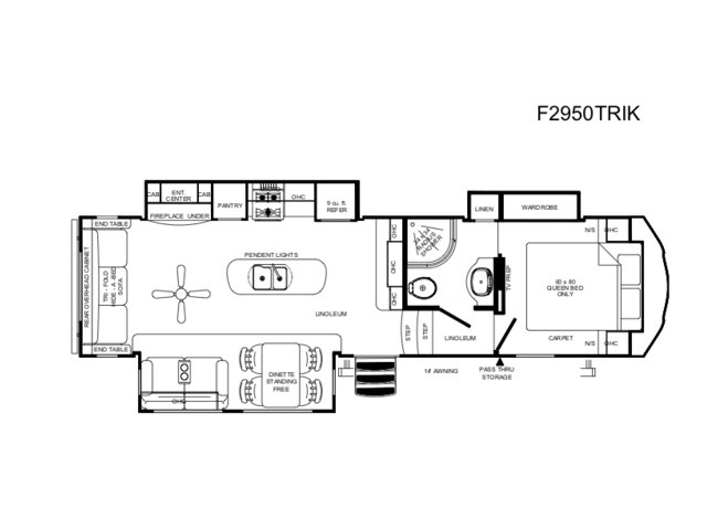 Sierra HT Fifth Wheel Model 2950TRIK by Forest River Floorplan
