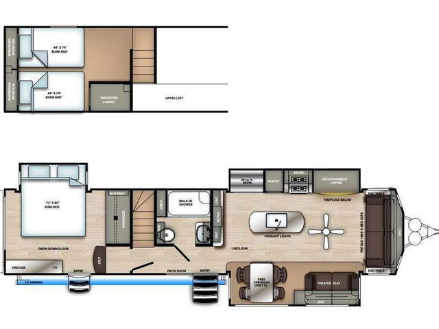 Sierra Park Trailer Model 399LOFT by Forest River Floorplan