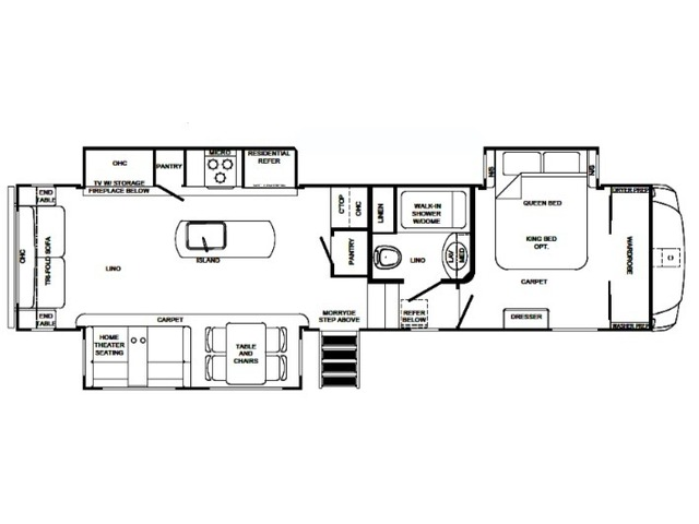 Sabre Fifth Wheel Model 32DPT by Forest River Floorplan