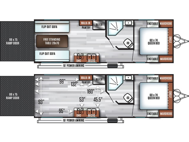 Salem FSX Toy Hauler (Travel Trailer) Model 210RT by Forest River Floorplan