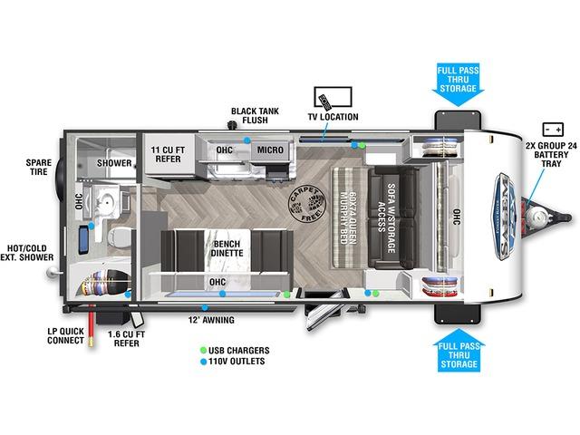 Salem FSX Travel Trailer Model 167RBK by Forest River Floorplan