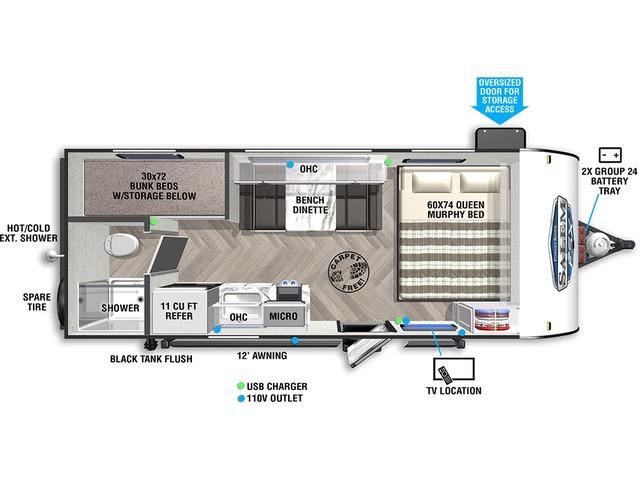 Salem FSX Travel Trailer Model 177BH by Forest River Floorplan