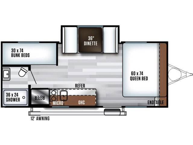 Salem FSX Travel Trailer Model 178BHS by Forest River Floorplan