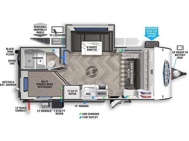 Salem FSX Travel Trailer Model 178BHSK by Forest River Floorplan