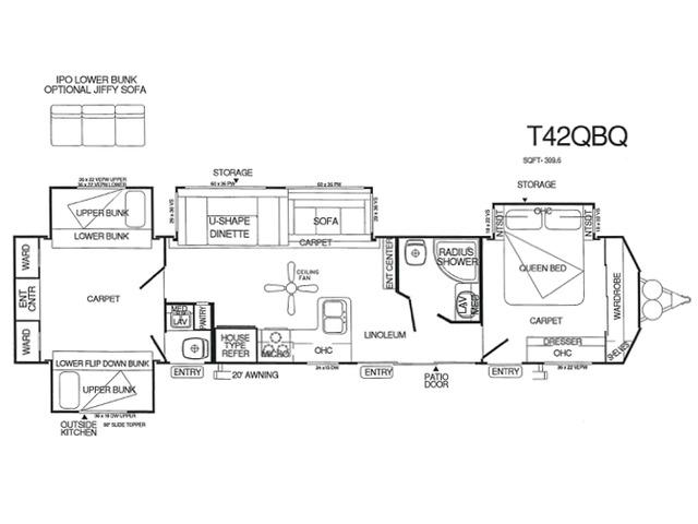 Salem Villa Classic Park Trailer Model 42QBQ by Forest River Floorplan